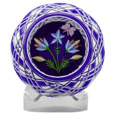 John Deacons Paperweight Clematis Flowers And Butterfly Blue White Double Cased Overlay Gingham Cut Back Pattern