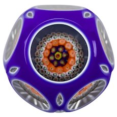 John Deacons Paperweight Concentric Millefiori Canes White Blue Double Cased Overlay Faceted Cut Back Pattern