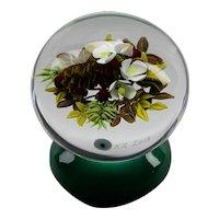 Ken Rosenfeld Floral Lamp Work Paperweight Piedouche Pedestal Base Signed 2003
