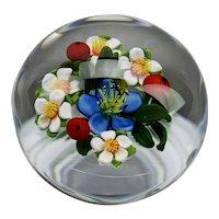 Ken Rosenfeld Paperweight Floral Bouquet Lamp Work Signed 2002
