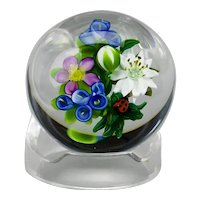 Ken Rosenfeld Floral And Ladybug Lamp Work Paperweight Signed 2000