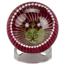 Prince Charles Lady Diana Marriage Commemorative Paperweight Floral Tribute Caithness Glass Scotland c.1981