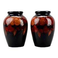 Moorcroft Pottery Pair Of Large Vases Wisteria Design Flambé England c.1930