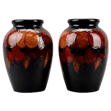 Moorcroft Pottery Pair Of Large Vases Wisteria Design Flambé England c.1930