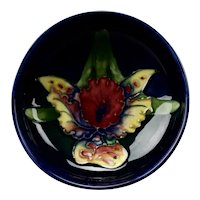 Moorcroft Pottery Small Footed Bowl Orchid Design England c.1930's