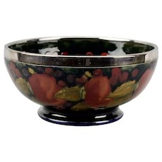 Moorcroft Pottery Footed Bowl Pomegranate Design Silver Plated Rim England c.1925