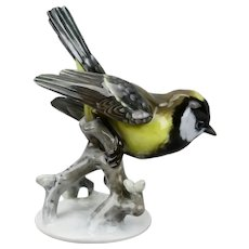 Rosenthal Kohlmeise Titmouse Bird Figurine Hand Painted Porcelain Germany c.1950's