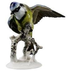 Rosenthal Blaumeise Blue Tit Bird Figurine Hand Painted Porcelain Germany c.1950's