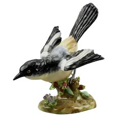 Shrike Bird Figurine Floral Motif Crown Staffordshire China England J.T. Jones