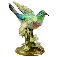 Bird Figurine Floral Motif Vibrant Colors Crown Staffordshire China England J.T. Jones