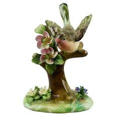 Bird Figurine Floral Motif Crown Staffordshire China England J.T. Jones