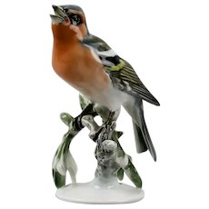 Rosenthal Finch Fink Bird Figurine Hand Painted Porcelain Germany c.1950's