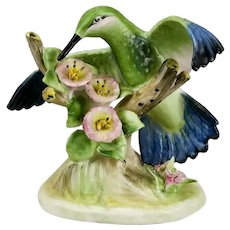 Humming Bird Figurine Perched On Tree Stump Pink Blossoms Royal Adderley Floral Bone China England