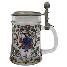 German Enamel Glass Beer Stein Pewter Lid Vibrant And Colorful