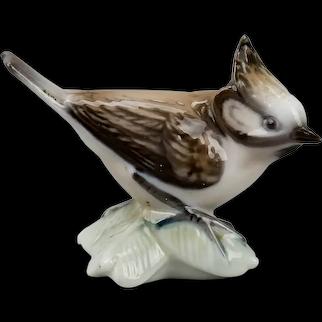 Lyngby Porcelain Crested Tit Bird Figurine #77 Copenhagen Denmark