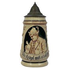 German Stein Green Brown Glazed Pottery 1/2 litre Pewter Lid