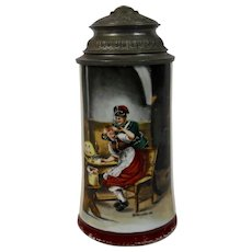 Lithophane Stein with Pewter Lid German Early 20th Century