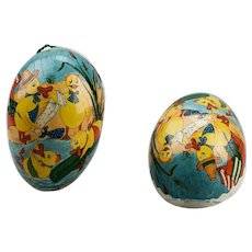 Paper Mache Easter Egg Candy Container Ducks Playing At The Beach Double Sided Dresden Trim East Germany