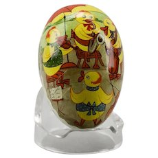 Paper Mache Easter Egg Candy Container Ducks Playing Musical Instruments Double Sided Dresden Trim East Germany