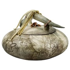 Ed Gray Sacred Pot Vessel Turtles Motif Antler Handle Native American Smoked Fired Pottery