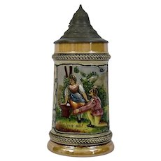 German Stein Polychrome Luster Glazed Pottery 1/2 litre Pewter Lid