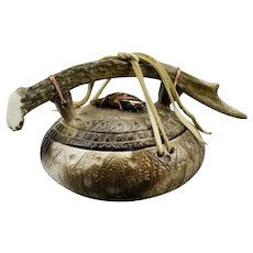 Ed Gray Sacred Pot Vessel Geometric Motif Antler Handle Native American Smoked Fired Pottery