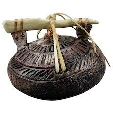Ed Gray Sacred Pot Vessel Antler Handle Deer Hide Ties Native American Pit Fired Pottery