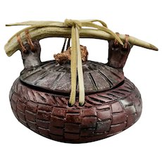Ed Gray Sacred Pot Small Vessel Antler Handle Deer Hide Ties Native American Pit Fired Pottery