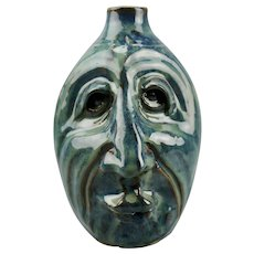 Face Jug Folk Art Form Vibrant Blue Glaze Signed Robert Brigl Kentucky American Artist