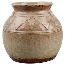 Pine Ridge Pottery Vase Dakota Sioux Signed Olive Cottier c.1940's Native American Folk Art WPA Work Progress Administration