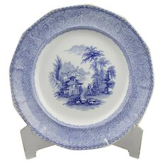 Blue Transfer Ware Dinner Plate Cintra Pattern English Ironstone