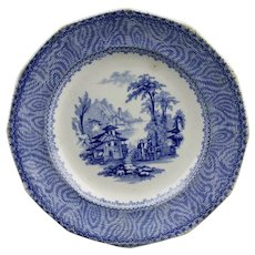 Blue Transfer Ware Side Plate Cintra Pattern English Ironstone