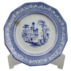 Blue Transfer Ware Dinner Plate Acorn And Oak Leaf Border English Ironstone Dated April 30th c.1845