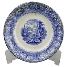 Blue Transfer Ware Plate Medina Pattern Cotton And Barlow English Ironstone 8 5/8 inches