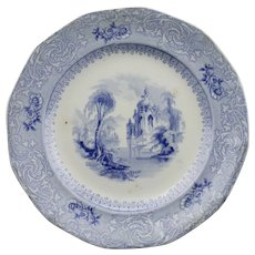 Blue Transfer Ware Plate Montilla Pattern Davenport English Staffordshire Ironstone c.1848