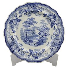 Blue Transfer Ware Dinner Plate Royal Cottage Pattern Thomas Till & Son English Ironstone