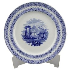 Blue Transfer Ware Dinner Plate Archipelago Pattern Ridgway And Morley English Ironstone
