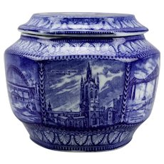 Blue Transferware Hexagonal Rington's Tea Caddy Biscuit Cookie Jar Maling Ware c.1929 England
