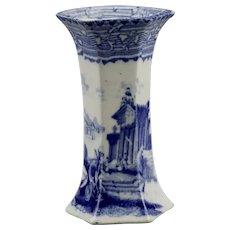 Blue Transferware Hexagonal Bud Vase Arcadian Chariots Pattern Unattributed Pottery Maker c.1900 Earthenware England