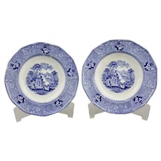 Pair Blue Transfer Ware Soup Bowls Columbia Pattern by W. Adams & Sons Ironstone