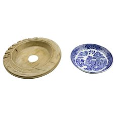 Blue Willow Pattern Butter Dish Transferware With Souvenir Abergele Wales Hand Carved Wood Ring