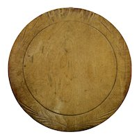 Bread Board Round Wood Form Hand Carved Details c.1900