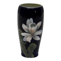 Royal Copenhagen Deep Blue Vase White Flower 2797 Artist Mark RI