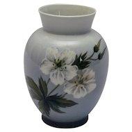 Royal Copenhagen Lite Blue Vase White Flowers and Butterfly