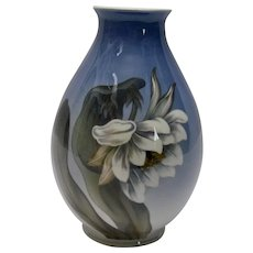 Royal Copenhagen Tall Blue Vase White Flower and Butterflies