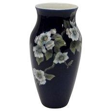 Royal Copenhagen Tall Cobalt Vase Apple Blossoms