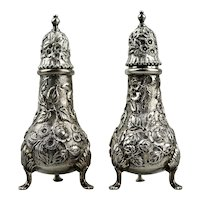 Repousse Pattern Sterling Silver Salt And Pepper Shakers S. Kirk & Son Co. c.1910