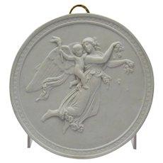 Bisque Parian Porcelain Plaque Royal Copenhagen Angel Cherub