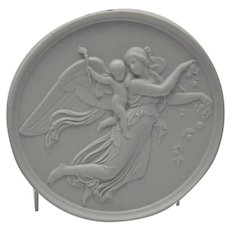 Bisque Parian Porcelain Plaque Bing and Grondahl Angel Cherub