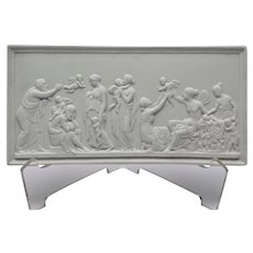 Bisque Parian Porcelain Oblong Plaque Gods Angels Cherubs Bing and Grondahl